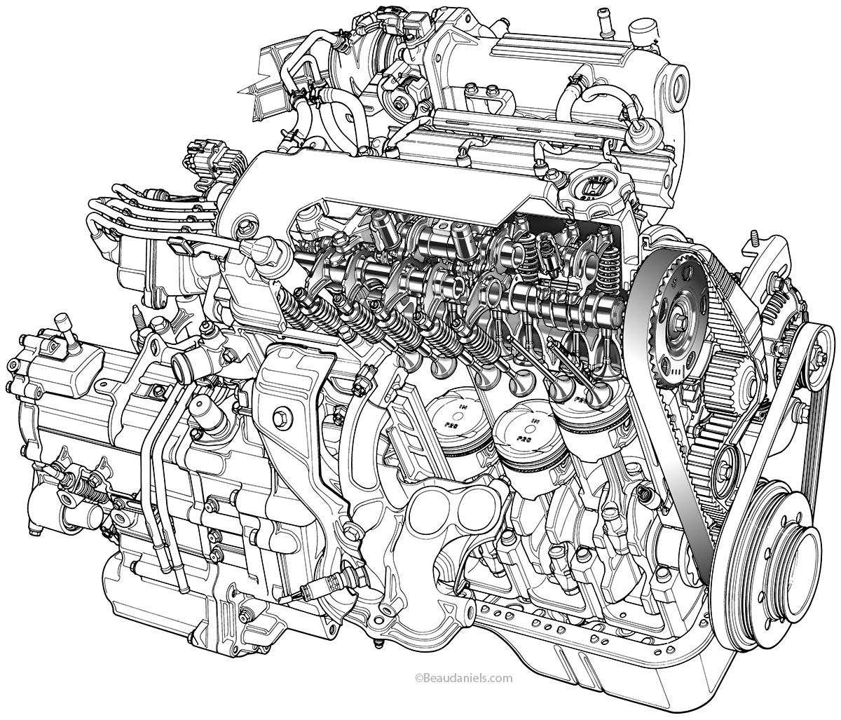 four cylinder engine animation